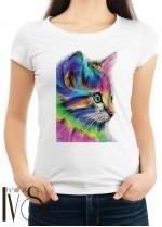 Дамска тениска бяла - COLOR CAT