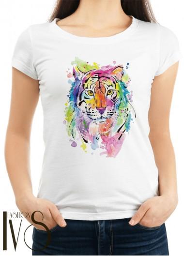 Дамска тениска бяла - COLORED TIGER
