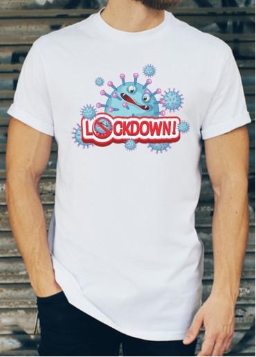 Мъжка тениска бяла - LOCK DOWN