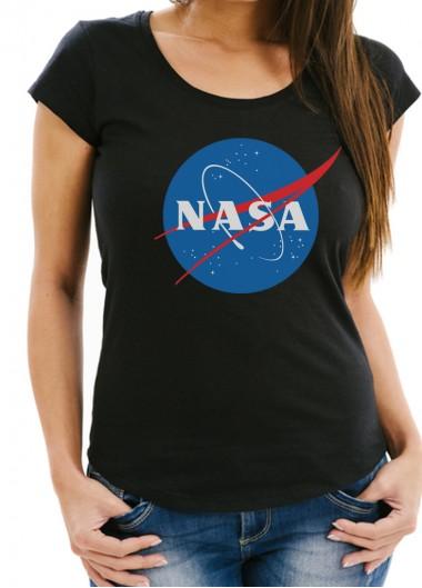 Дамска черна тениска NASA