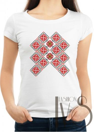 Дамска тениска с фолклорни мотиви Модел 3F шевици