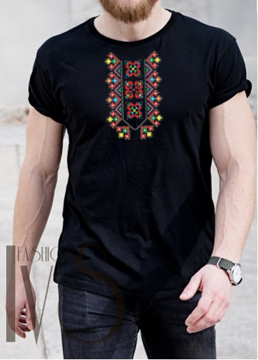 Мъжка тениска с фолклорни мотиви Модел 1MBS1 шевици