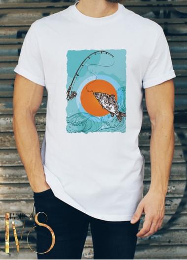 Мъжка бяла тениска ЛОВ И РИБОЛОВ Модел 1
