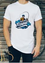 Мъжка бяла тениска ЛОВ И РИБОЛОВ Модел 3