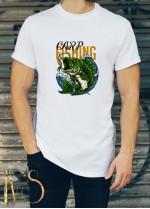 Мъжка бяла тениска ЛОВ И РИБОЛОВ Модел 7