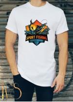 Мъжка бяла тениска ЛОВ И РИБОЛОВ Модел 9