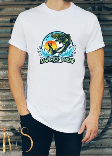Мъжка бяла тениска ЛОВ И РИБОЛОВ Модел 14