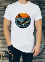 Мъжка бяла тениска ЛОВ И РИБОЛОВ Модел 16
