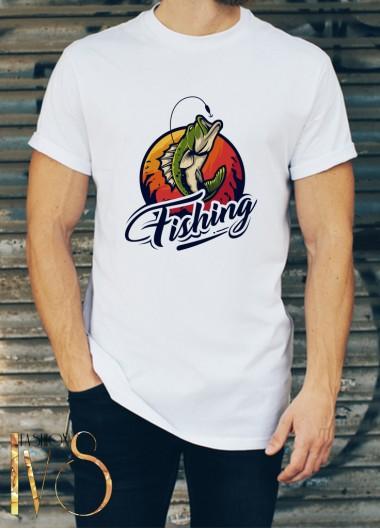 Мъжка бяла тениска ЛОВ И РИБОЛОВ Модел 17