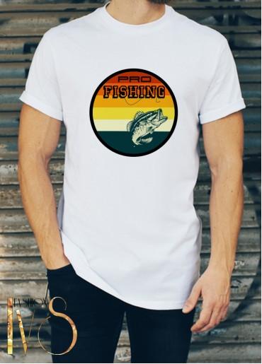 Мъжка бяла тениска ЛОВ И РИБОЛОВ Модел 21