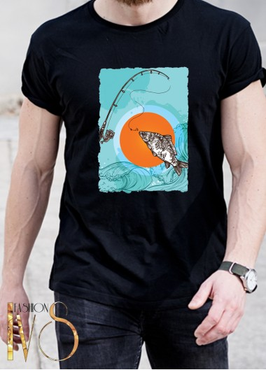 Мъжка черна тениска ЛОВ И РИБОЛОВ Модел 1
