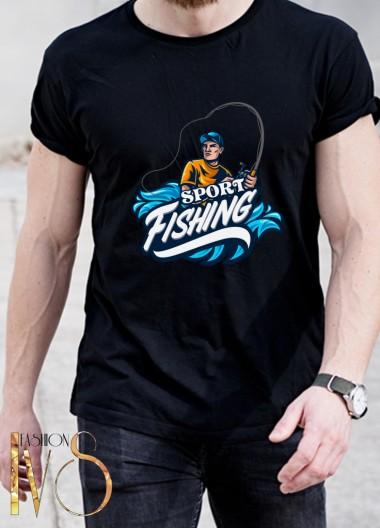 Мъжка черна тениска ЛОВ И РИБОЛОВ Модел 3