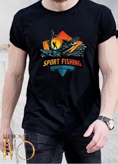 Мъжка черна тениска ЛОВ И РИБОЛОВ Модел 9