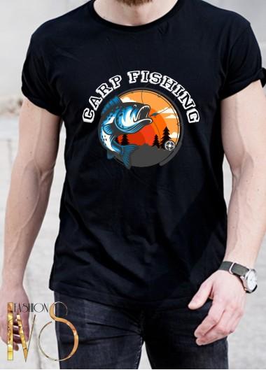 Мъжка черна тениска ЛОВ И РИБОЛОВ Модел 10