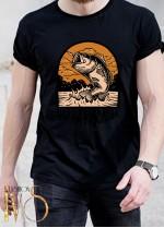 Мъжка черна тениска ЛОВ И РИБОЛОВ Модел 12
