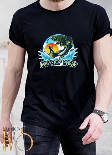 Мъжка черна тениска ЛОВ И РИБОЛОВ Модел 14