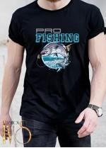 Мъжка черна тениска ЛОВ И РИБОЛОВ Модел 15