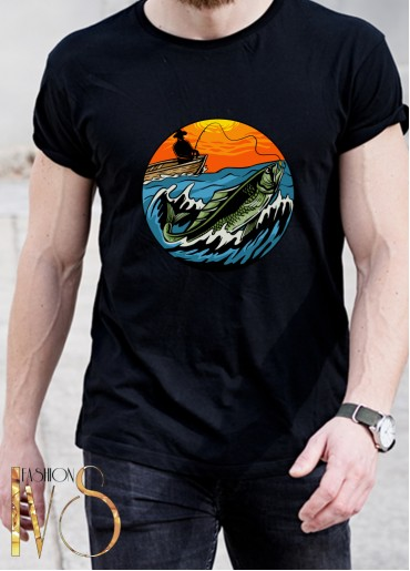 Мъжка черна тениска ЛОВ И РИБОЛОВ Модел 16
