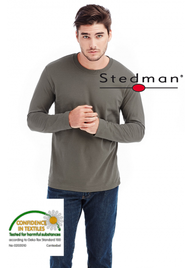 мъжка памучна изчистена блуза с дълъг ръкав stedman