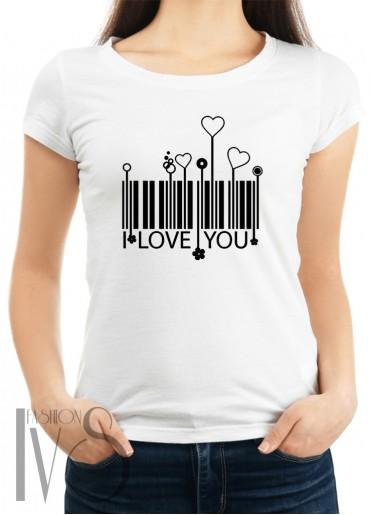 Дамска тениска бяла - I LOVE YOU