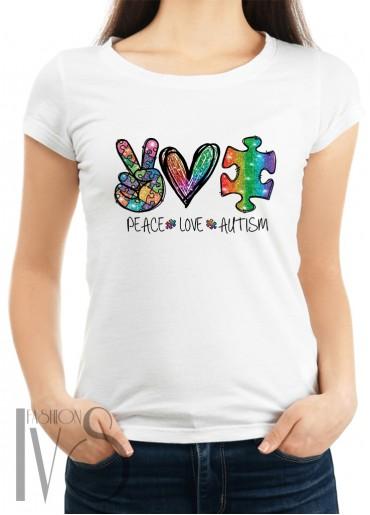 Дамска тениска бяла - PEACE LOVE AUTISM