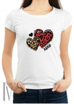 Дамска тениска бяла - two hearts