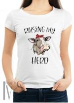 Дамска тениска бяла - RAISING MY HERO