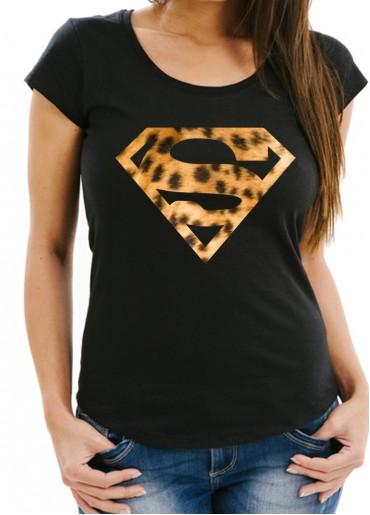 Дамска черна тениска SUPER GIRL модел 1