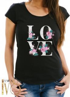 Дамска тениска черна - LOVE