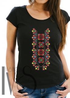 Дамска тениска с фолклорни мотиви Модел 1FB шевици