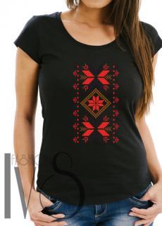 Дамска тениска с фолклорни мотиви Модел 6FB шевици