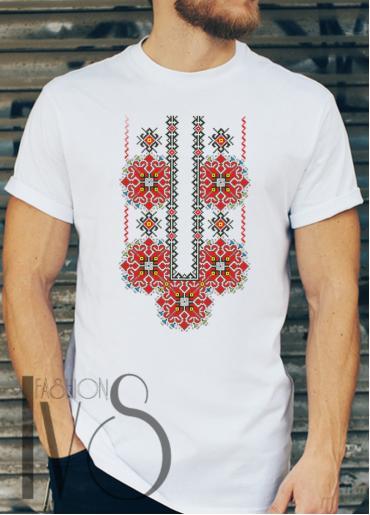 Мъжка тениска с фолклорни мотиви Модел 23FM шевици