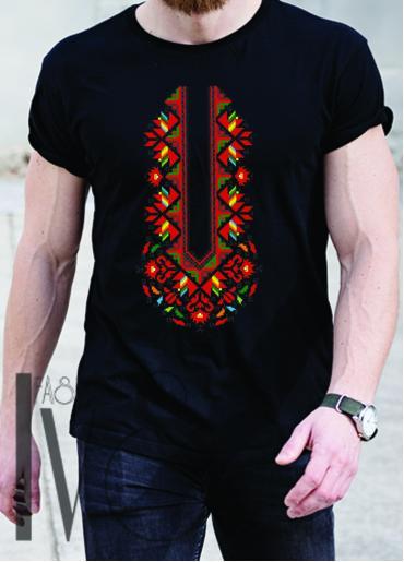 Мъжка тениска с фолклорни мотиви Модел 12MB шевици