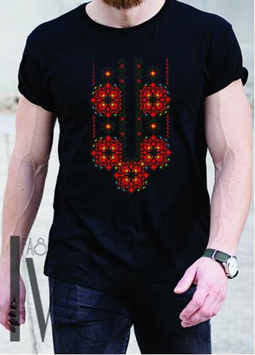 Мъжка тениска с фолклорни мотиви Модел 14MB шевици
