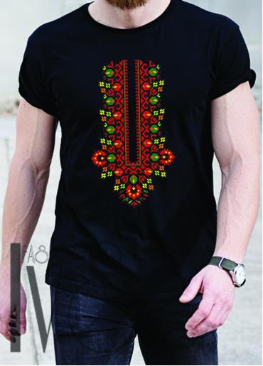 Мъжка тениска с фолклорни мотиви Модел 15MB шевици