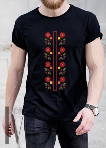 Мъжка тениска с фолклорни мотиви Модел 5MB шевици