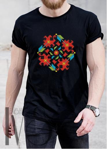 Мъжка тениска с фолклорни мотиви Модел 6MB шевици