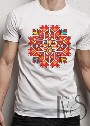 Мъжка тениска с фолклорни мотиви Модел 1FM шевици