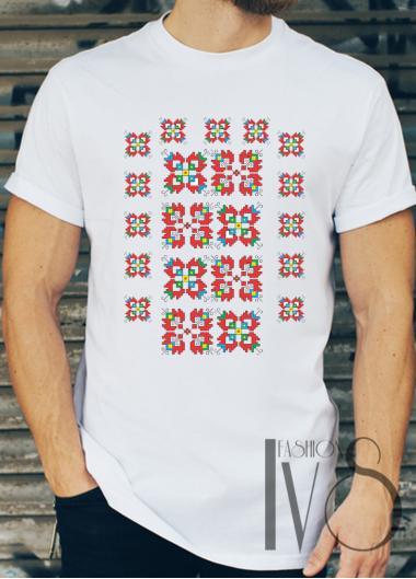 Мъжка тениска с фолклорни мотиви Модел 5FM шевици