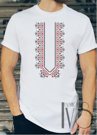 Мъжка тениска с фолклорни мотиви Модел 6FM шевици