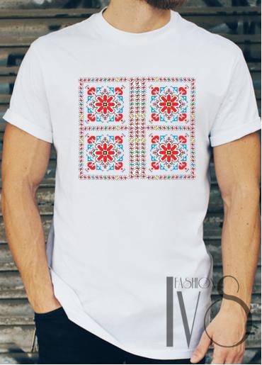 Мъжка тениска с фолклорни мотиви Модел 7FM шевици
