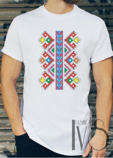 Мъжка тениска с фолклорни мотиви Модел 8FM шевици