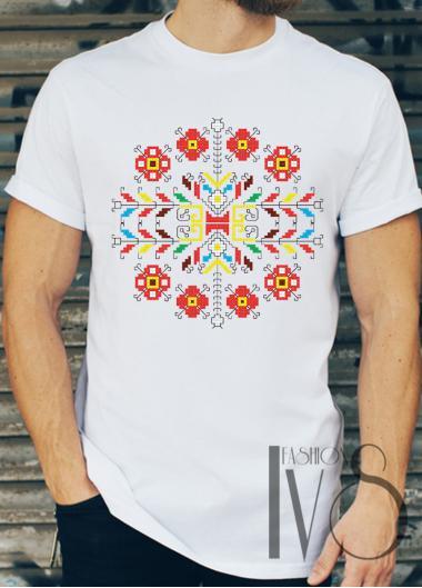Мъжка тениска с фолклорни мотиви Модел 10FM шевици