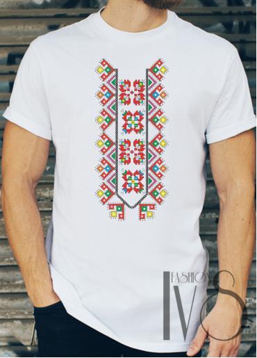 Мъжка тениска с фолклорни мотиви Модел 11FM шевици