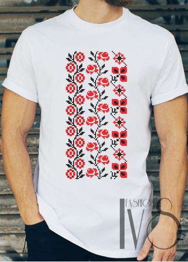 Мъжка тениска с фолклорни мотиви Модел 13FM шевици