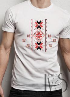 Мъжка тениска с фолклорни мотиви Модел 16FM шевици