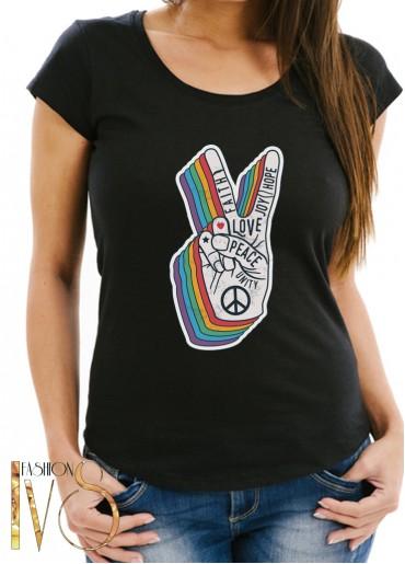 Дамска тениска черна - PEACE