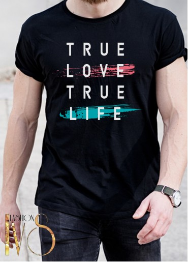 Мъжка тениска черна - TRUE LOVE TRUE LIFE