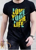Мъжка тениска черна -LOVE YOUR LIFE
