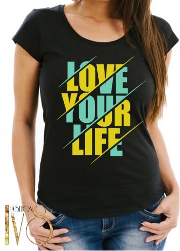 Дамска тениска черна -LOVE YOUR LIFE